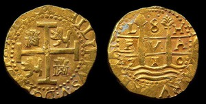 8 Escudos Lima dated 1710 recovered from the 1715 Fleet, photo by Augi Garcia